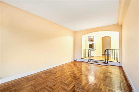NO BOARD APPROVAL!!!! Spacious prewar top floor renovated sponsor unit in the Salem building! Located on 37th avenue, between 72nd and 73rd streets, only 1.5 blocks from the express E & F trains. Prewar features include high ceilings, hardwood floors, arches and plaster walls. Very sunny and quiet corner apartment (facing back of the building) with open views, including Manhattan skyline.