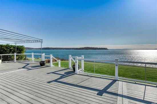 Waterfront living at its best. Spectacular unobstructed views to Shelter Island and beyond. Pristine ranch, updated, meticulous and stylish. Huge deck. Private association beach & marina with your own boat slip HOA fee=$175/yr + $350/yr =boat basin fee .