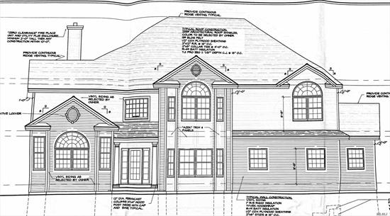 *New Construction-Foundation Poured* On This Beautiful To Be Built 3500 Sq Ft Colonial ! Craftsmanship & Attention To Detail Are Evident In Every Touch. This House Boasts An Open And Spacious Floor Plan, Gourmet Eik W/ Ss Appl, Granite, Breakfast Nook, 9' Ceilings. Livrm W/ Fireplace, Fml Din Rm, Fam Rm, Laundry, Upstairs Inc. Master Bedroom Suite, 3 Large Bedrooms, Full Bath, Full Basement, And More. Set On A Cul -De- Sac With 2 New Luxurious Homes! Time To Customize And Call This Home!!