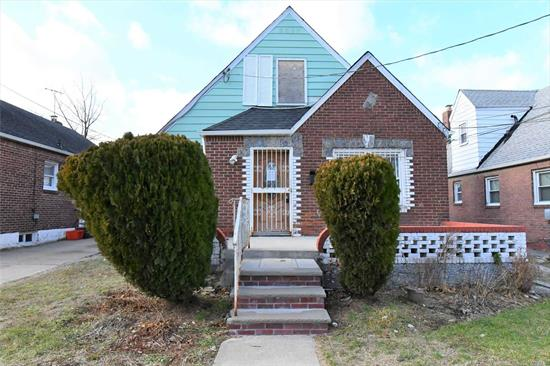 Opportunity Is Knocking!!! This 1 Family Detached, Cape Features A Full Basement, Living Room, Dining Room, Kitchen, 3 Bedrooms And A Full Bath. This Property Has A Private Driveway With A 1 Car Detached Garage. Conveniently Located Near Major Highways (Cross Island & Southern State Parkway), Parks, Restaurants, Shopping Areas, Schools, Places of Worship Etc. Don't Miss This One!