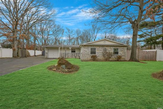 Pride of homeownership permeates throughout this clean and move-in ready 4 bed, 2 bath Ranch in Sachem Schools! Taxes under 6400 with basic STAR! Owners of over 25 years are moving out of state and ready to pass the torch. New 30 year roof installed in 2012 (Complete Rip + Replace), Silestone Kitchen Counters, 9 Car Driveway, Master Bed with bath, Pellet Stove, Sidewalks, 200 Amp Service and more. Must See!