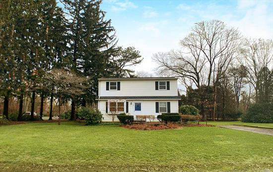 Live Close To Wine Country, Riverhead shopping & The Hamptons! Idyllic Cape on Large Corner Lot 100 x 200. Main Level: Living Rm, Dining Rm, Bright Eat-in Kitchen w/Side Entrance, Bdrm, Full Bath. Upper Level: 4 Bdrms, Full Bath. Full Basement w/Laundry, Workshop & OSE. Hardwood Floors, Updated Oil Tank plus a Separate Hot Water Heater, Central AC, Central Vac, Storage Shed. LOW TAXES $6, 201.66 w/Basic Star. PLUS 13-Month Home Warranty, ALL Included!