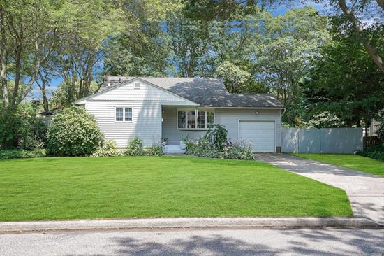 Here is your opportunity to own in Sayville. Great split featuring updated kitchen, gleaming HW floors, oversized garage, roof (under 15 years old), Cesspool (less than 5years old), Ductless Air Unit (5 years), Heating system (5 years), New Hot water heater, pull down attic, shed is a gift. Master has sliders that lead to deck overlooking parklike yard. Don't miss this one.