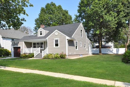 COMPLETE NEW RENOVATION OF LOVELY EXPANDED CAPE ON 80X100 PROPERTY. SPACIOUS OPEN FLOOR PLAN W/EXPANSIVE CUSTOM KITCHEN. W/STNLSS STL APPLS, QRTZ COUNTERS AND CENTER ISLAND. BAR AREA W/WINE COOLER. SUN FILLED FMLY RM W/REAR AND SIDE YARD ACCESS. 1ST FL MSTR BDRM W/ENSUITE AND WALK IN CLST.2ND FLR W/2 LARGE BDRMS AND FULL BATH HARD WOOD FLOORS. FRONT PORCH. FULL OPEN BASEMENT.PRIME LOCATION IN THE EXTREMELY DESIRABLE WSTRN SCTION OF GARDEN CITY. WALK TO LIRR