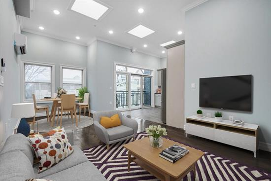 Brand new luxury condominium located in desirable Sparrow Hill section of the Jersey City Heights. Bright and airy 3 bedroom/2 bath, 1128 Sq Ft plus balcony. Features include fully equipped kitchen with stainless steel appliances and quartz counter tops, hardwood flooring, washer and dryer in unit, ductless split heat/AC units for optimum efficiency, high ceilings, skylights and large windows provide lots of natural light. Oversized garage available at additional cost. Best location, bordering the Journal Square neighborhood it's just a short distance to the Journal Square Path, bus service to NYC and easy access to the Holland tunnel and NJ Turnpike. Convenient to cafs and shops and Little India.