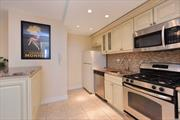 Nicely renovated bright and spacious apartment with balcony offering panoramic views. Modern Open Kitchen featuring a center island with gorgeous Brazilian Granite Counter top. L-shaped living room and dining room offer a large open living space. Big bedroom with cedar lined closets. Renovated bathroom with jacuzzi tub and waterfall faucet. Easy access to E and F Express trains and LIRR, offering 30 min commute to Manhattan.