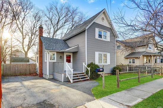 LOW TAXES!!! Check out this Beautiful, Completely Renovated Village Colonial! EIK with all New Appliances, Living Room, Master Bedroom on the first floor, Newer Roof, Siding and Carpet, Basement with outside entrance! Wide Driveway, Large, Fully Fenced Yard! Must See! Move Right In! Down the Block to LIRR. Great home for first time homebuyer!!! Move-in-ready just waiting for YOU! Home being sold AS IS.