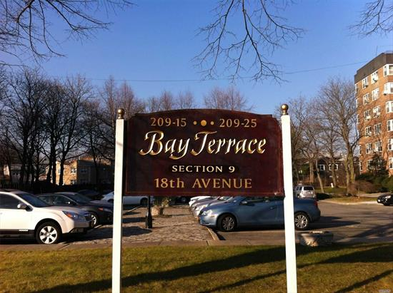Large 3 Bedroom 1 Bath Apartment With Plenty Of Closets. Dining Room can be converted to Den or 4th Bedroom. Blocks to Bay Terrace Shopping Center, Library, Bay Terrace Pool Club (Not Part Of Coop), Elementary/Middle School, Express Bus to Manhattan, Bus To Flushing & LiRR. Maintenance of $1, 374.42 Includes 2 Air Conditioners, Dishwasher, Taxes, Gas & Electric. Buyer Will Get 1 Parking Space For $20