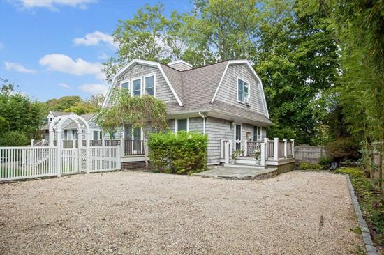 Prime, Private Village location. No need for car with Main Street, Marina and Rogers Beach almost a stone's throw away. This adorable turn key property is the perfect summer getaway or year round retreat. Featuring 3 bedrooms, 2 baths, custom eat-in kitchen with upgraded stainless appliances, lr w/fp, wet bar and fridge. The residence also features a heated dipping pool and guest cottage replete with living room with radiant heated floors, full bath, kitchenette and outdoor shower.