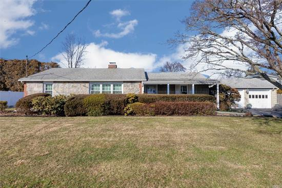 Beautiful Exp. Wideline Ranch features great curb appeal w/vinyl & fieldstone exterior, Front Porch, situated on o/s property 100 x 110, LR w/fireplace, large finished Basement, 3 Full Baths, new CAC, all new windows, plaster walls, 200 amps, roof approx. 10yrs old stripped to sheathing, patio, large double blacktop driveway w/Belgium blocks, Plainview SD#4.