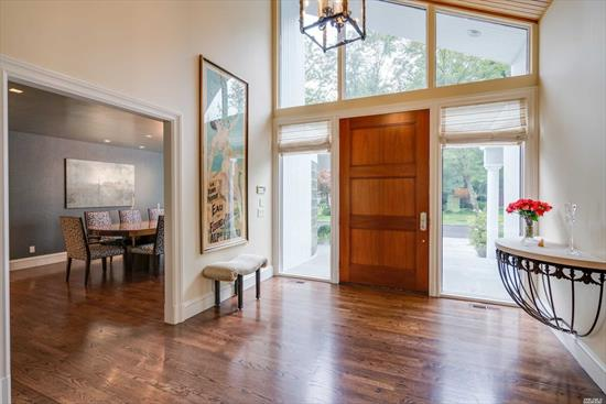 High end design, large rooms for living and entertaining and quality defines this timeless modern home. Highlights include soaring ceilings, hardwood floors, a sumptuous master suite w/private study, 2 dens & a separate guest wing.Finished Basement. The scenic two acre property features a mature landscape and gleaming in ground pool. Ideal location.Generator. Jericho SD.