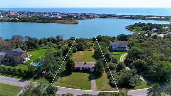 Sitting waterfront is this charming two-bedroom, one bath home with attached garage and full basement. On over an acre with room to expand gives one endless possibilities; add on or build new. Room for pool & pool house. Rolling lawn that leads down to Fort Pond for easy access to kayak, paddle board or fish. Not far from all Montauk has to offer, great restaurants, shops and beautiful ocean beaches.