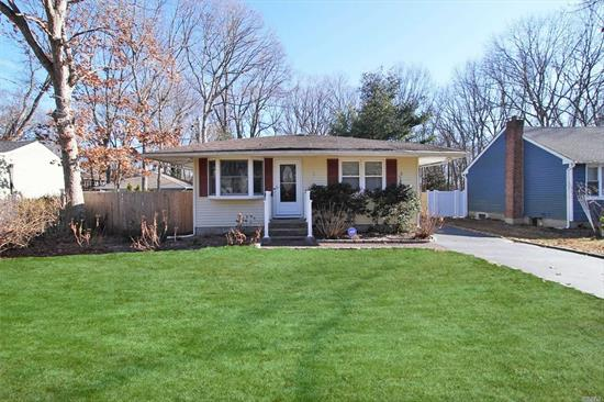 Lovely 3 Bedroom Ranch Home In Sought After Smithtown School District/High School East. Set On Quiet Tree Lined Street. Boasts Large Eat In Granite Kitchen W/Deck Off Kitchen, Tiled/Hardwood Flooring, CAC, Anderson/Pella Windows, 200 Elec. Apms, Belgian Block Trimmed Extra Long Driveway, Fenced Property With Very Deep And Flat Usable Property, Full Basement, Low Taxes & More.