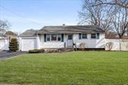 Low Taxes!!! Great Starter Home, A Bright and Airy 3 Bedroom Ranch with New Windows and Fully Fenced Yard. Sachem School District.