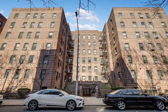 Very nice and well maintained Co-Op elevator building. Spacious, low HOA $575. Close to Subway Trains R, M. Convenient travel to all, Rego Center, restaurants, hospital, shopping etc. Live-in Super, laundry facility inside the building. All info subject to independent verification.