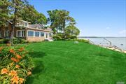 Two for one on the bay! Not one but two beautiful homes with sensational views and seaside charm. Eight bedrooms and 3.5 bathrooms total. New bulkheading, 2 outdoor showers, 2 fireplaces are just a few of the many amenities. This property has charm, style and a feeling of simplicity about it, while offering endless expansive views of Peconic Bay, 102' feet of bay frontage!