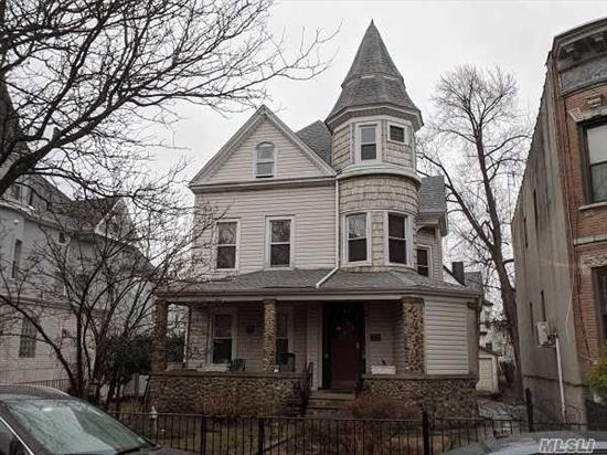 Lovely Queen Anne with Turret in the heart of Bay Ridge. Beautiful porch with stoned columns. Lovely entry hall with wrap around staircase. Large porch off the back of the house. Detached 2 car garage, pvt driveway and new roof. Oversized property a must see!!!