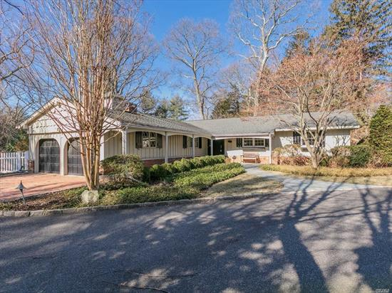 Fabulous Expanded, Sprawling Ranch in Point of Woods! 4/5 BR & 3 Baths! Featuring bright, open floor plan w/Formal Living & Dining Rms. Updated E-I Kitchen w/granite ctrs, SS Appliances. Family Rm w/firepl. Sunrm/Office addition. Expanded Master bedrm Suite w/Sauna & cedar closet. Beautiful hardwd floors thru-out! Many updates Windows, Heating, Generac whole house generator, more! Spectacular 1 acre property w/private, Country Club backyard. Gunite pool, waterfall, IGS. Great to entertain!