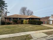 N. Baldwin - Uniondale School District! Spacious 3 bed/2bath brick ranch, liv, din, eik, plus a family room with fireplace, full basement, central air,  plus a garage. Home is being sold as is.
