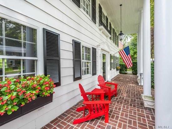 Early Americana Colonial with charming porch. Immaculate condition throughout this approx. 3200 SF 4-bedroom home with professional office in lower level. Private rear property. Convenient to train, town and schools.