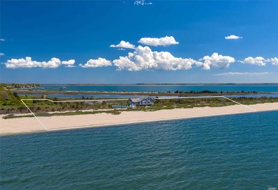 With 618 feet of private Long Island Sound beachfront on 3.86 acres, you will take in dramatic sunsets throughout the year in this 2, 500 square foot residence with an 18' x 36' heated saltwater pool and expansive rear deck. Sweeping views of the bay and sound can be taken in from every room throughout this naturally light filled and newly renovated home, perfect for entertaining guests or enjoying the tranquil sound of waves washing onto the shore.