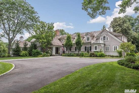 Stunning Hampton Style Home Built In 2011. Amazing Detailed Molding, Radiant Heat, Private & Expansive 1st Flr Mastr Ste W/Balcony Overlooking Pool. Gourmet Kitchen W/Every Amenity; Liv Rm W/Bar Area W/Walls Of Glass; 3 Fp's And A Fully Finished Above Grade Lower Level W/2 Rec Rms, Wine Cellar,  Full Size Gym/Studio That Walk Out To Pool Area. 2.5 Prof Landscaped Acres.
