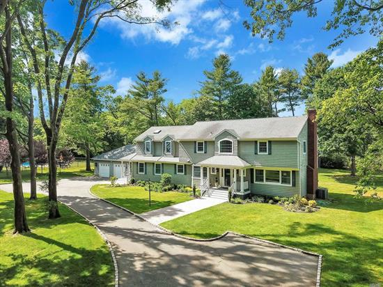 NYC Sophistication Meets Country Retreat, To Deliver This Move-In Ready Oasis in the Heart of Syosset. No Expense Has Been Spared in this Exquisitely Updated 4 BR Colonial at the End of a Private Cul De Sac. Elegantly Appointed Spacious LR w/ Wood Burning FP. Formal Dining Rm, Huge Sun Flooded Gourmet EIK w/ Hi-End Appliances. Oversized Den Leads to Gorgeous Backyard. 2 Flat acres Featuring Free Form In-Ground Pool with Hot Tub.