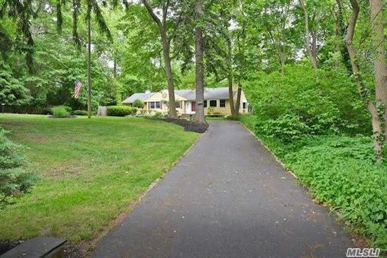 Peace & Tranquility awaits you in this beautiful spacious 4 Bedroom 3 bath Ranch home in the desirable area of Audubon Woods in prestigious West Hills. Enjoy year-round views of Raven's Pond on this .87-acre property, surrounded by 1100 Acres of horse, hiking trails yet just min. away from shopping, parkways, public trans & houses of worship. Full fin. Basement with sliders to yard and inground pool. A perfect meditation refuge. PRICE REDUCTION