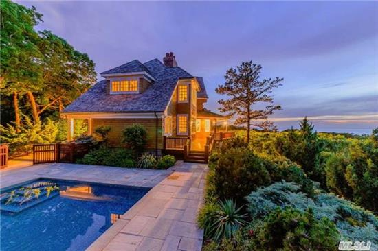 Privacy,  Tranquility & Sunsets - Peconic. Your Pvt Paradise On Li Sound Awaits. Designed From Original Plans For Felsted Deer Isle,  Me. Exquisitely Constructed, This 12.7 Acre Homestead Abuts 70 Acres Of Preserved Land. 368' Of Pvt Beach,  Gunite Pool,  Gmt Kitchen,  5 Br,  Includes 2 Ms Ste,  3 Fpl,  Wrap Around Deck,  4+ Car Gar. As Featured In The Wall Street Journal.