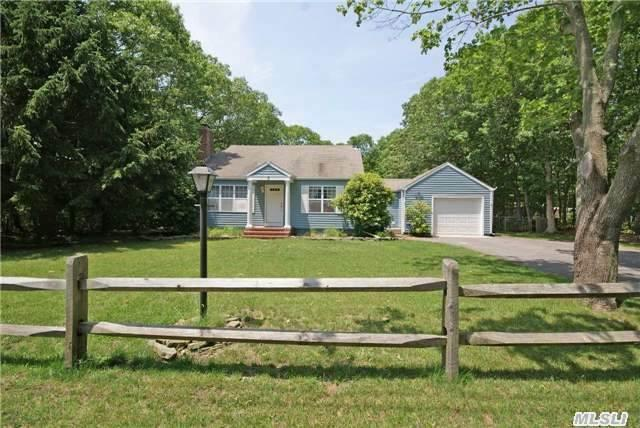 This Charming Westhampton Cape Is The Perfect Year-Round Or Summer Home. The First Floor Offers, Kitchen, Lr/Dr, Family Rm W/Fplc, Master Suite, Guest Rm, Full Bath. Finished Basement W/Full Bath. Second Floor With Two Guest Bdrms & Full Bath. Enjoy The Summer Sun In The Spacious Backyard With In-Ground Pool. Close To Town & Local Beaches, Low Taxes.