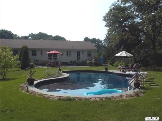 Country Ranch In Southampton Township. Low Taxes. Beautifully Landscaped Yard With In-Ground Pool And Blue Stone Patio. Property Backs To Preserved Land. Short Distance To Lake, Bring Your Canoe Or Kayak.