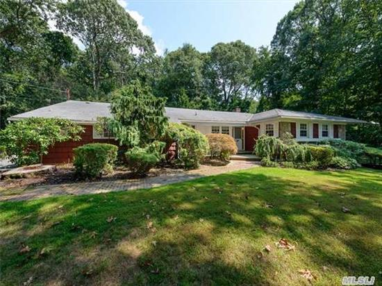 Sunny & Spacious Ranch In The Prestigious Gates Of Woodbury. This Sprawling Home Features Hardwood Floors, Central Air & Stainless Steel Appliances. Large Den With Fireplace & French Door Sliders Leading To An Expansive Deck Surrounded By Lush Greenery. 2 Car Garage & Much More. Don't Miss This Great Opportunity! Syosset Schools!