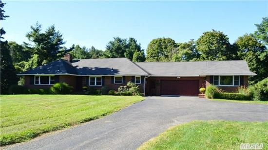 A Long Flat Driveway Leads To This Private, Tranquil, Flat, Secluded 2 Acre Property In Oyster Bay Cove.Low Taxes & Low Maintenance. Room For Horse, Pool & Tennis Crt. This 3 Br, 2 Full Bth Ranch Has An Elegant Lr W/ Fplc Plus Custom Crown Molding. In Addition, There Is A Legal Separate Additional W/Lr, Br W/Wic, Full Bath, Laundry And Cac.